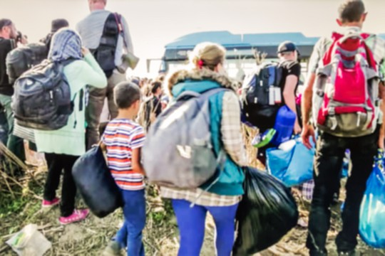 Flüchtlinge unterwegs während der Flüchtlingskrise